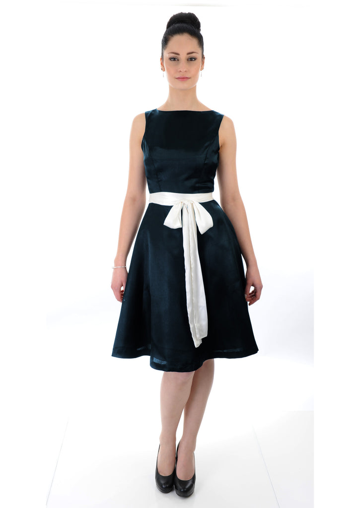 Navy satin boat neck with white sash Bridesmaid Dress
