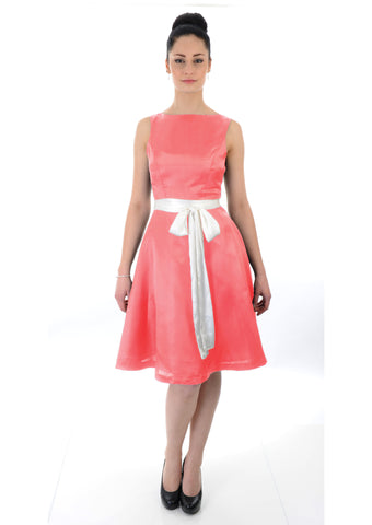 Boat Neckline Coral Satin Bridesmaid dress