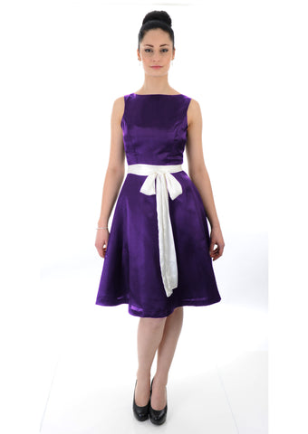 Cadbury purple boat neck Satin Bridesmaid dress
