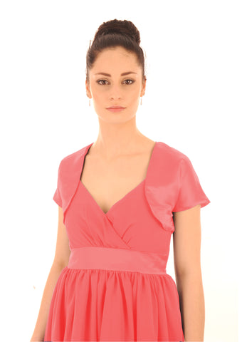 Coral Peach Satin Shrug or Bolero