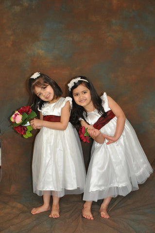 Burgundy sash plain ivory or white flower girl dress