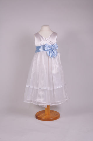 White or Ivory net Flower girl dress with bow