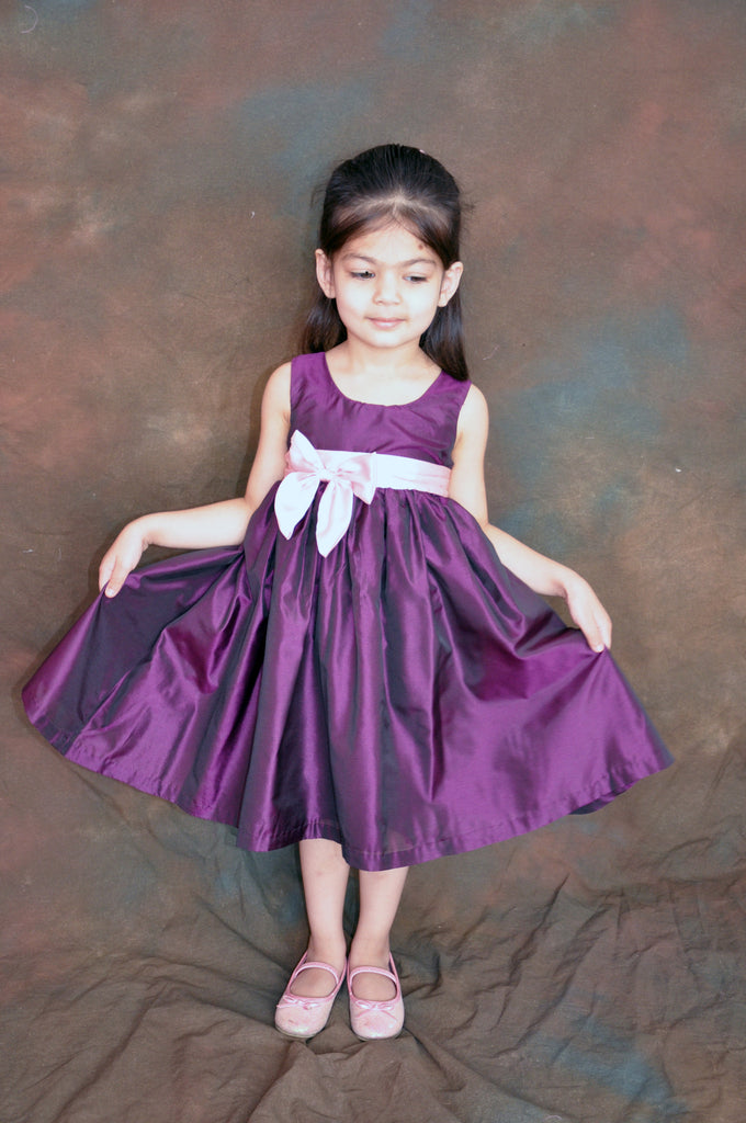 Plum purple flower girl dress with Pink Bow