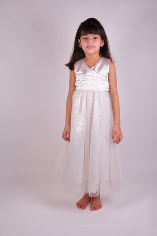 Ruched Bodice Ivory flower girl dress