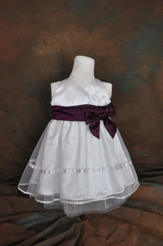 White net Purple bow flower girl dress