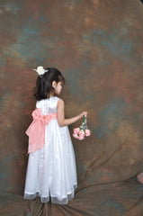 White or Ivory long Flower girl dress with Coral peach sash