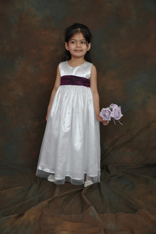 White or Ivory long Flower girl dress purple sash