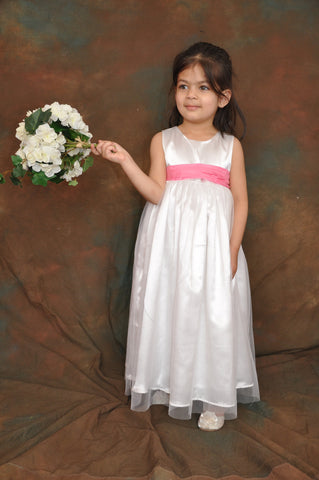 White or Ivory long Flower girl dress Pink sash