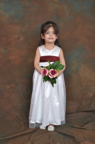 White or Ivory long Flower girl dress with Burgundy sash