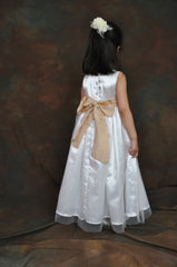 White or Ivory long Flower girl dress with Champagne sash