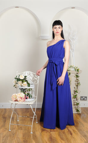 Single Ruched Shoulder Floor Length Georgette Royal Blue Bridesmaid Dress