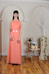 Ruched Neckline Floor Length Georgette Coral Peach Bridesmaid Dress