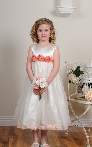 Coral peach sash petals white flower girl dress