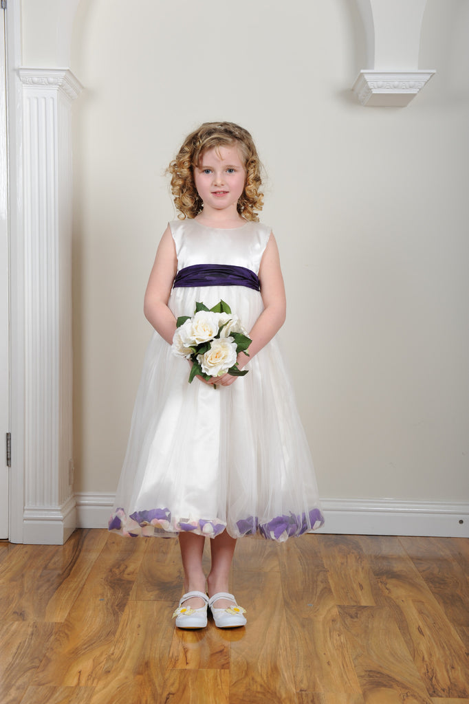 cadbury purple petal ivory or white flower girl dress