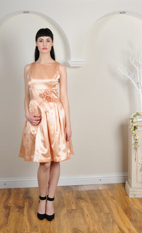 Knee Length Pleated Bridesmaid Dress With Flower Details