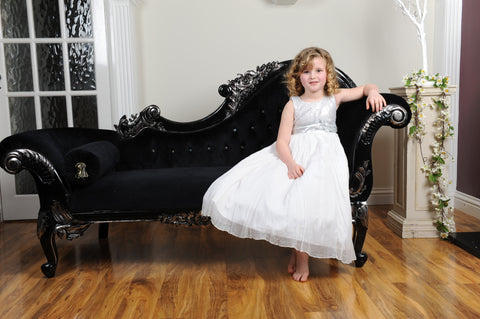 Sequined Silver bodice chiffon white flower girl dress