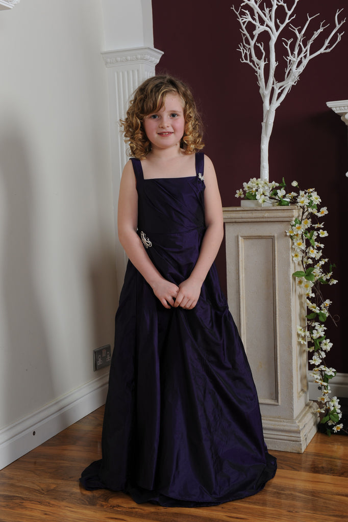 HALF PRICE Pinched Skirt Ruched Bodice Floor Length Cadbury Purple Junior Bridesmaid Dress 11Y