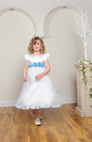 Sky blue sash petals ivory or white flower girl dress