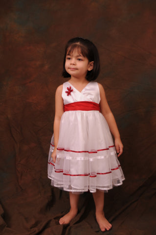 HALF PRICE White and Red Net Flower Girl Dress 4Y