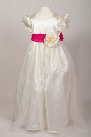Fuchsia Hot Pink Sash Ivory Flower Girl Dress With Corsage