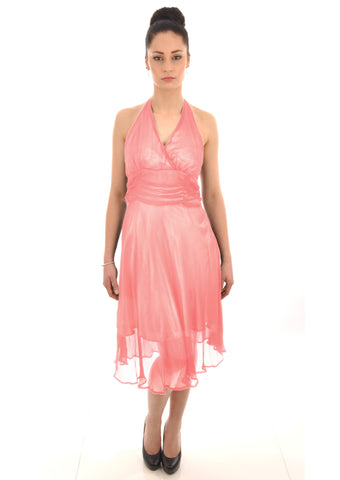 Georgette halter neck coral bridesmaid dress