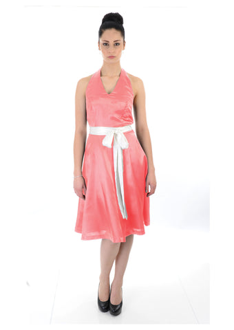 Satin halter neck coral Bridesmaid Dress