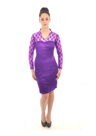 Cadbury Purple Floral Lace Knee Length Bridesmaid Dress