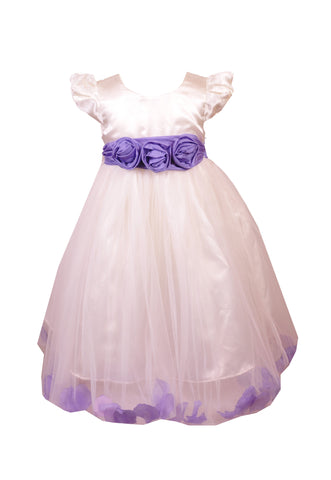 Lavender Petals Ivory flower girl dress
