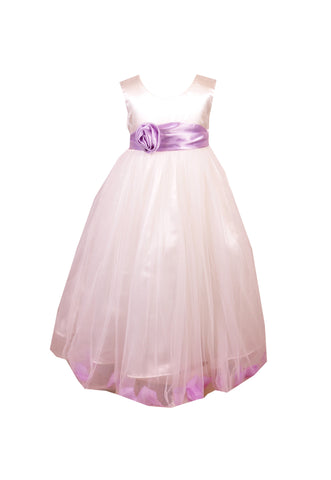 Lilac Petals Ivory flower girl dress