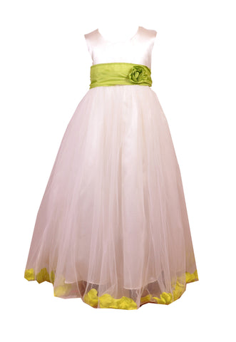Lime Green Petals Ivory flower girl dress