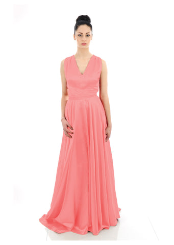 Coral Peach Long Satin Bridesmaid Dress
