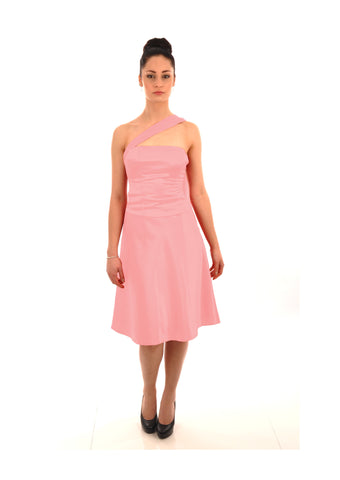 Single shoulder satin Coral Peach Bridesmaid Dress