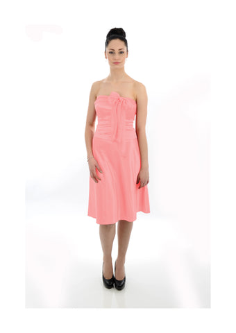 Front Bow Coral Peach Satin Bridesmaid Dress