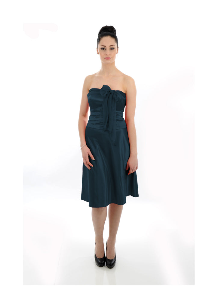 Navy Satin with Front Bow Bridesmaid Dress