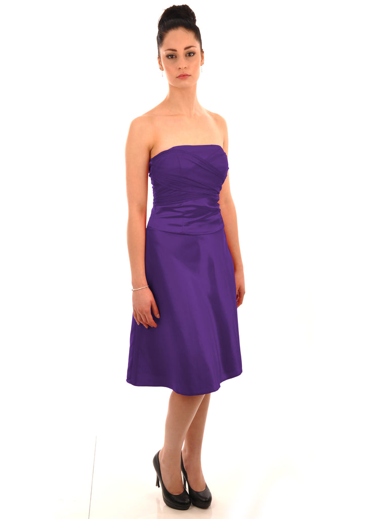 Cadbury Purple Satin with front cascade style Bridesmaid Dress