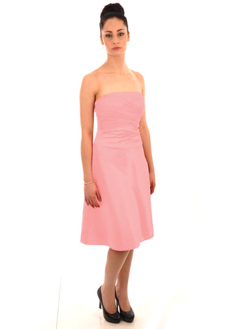 Front cascade style Coral Peach Satin Bridesmaid Dress