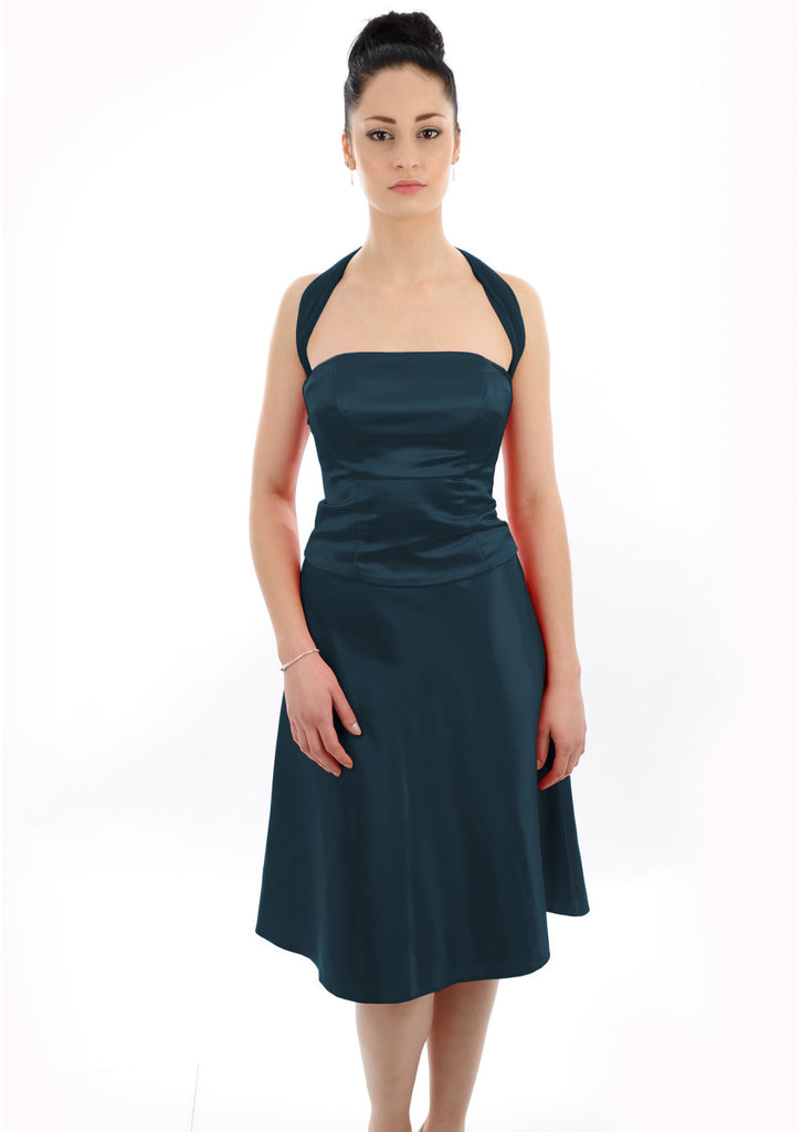 Multiway shoulder strap Navy Satin Bridesmaid Dress