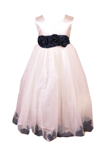 Navy Petals Ivory flower girl dress