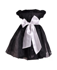 HALF PRICE Black organza christmaas dress with one flower sash 3M