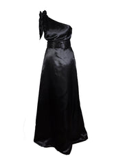 Floor length A-line One Shoulder Bow Black Bridesmaid Dress