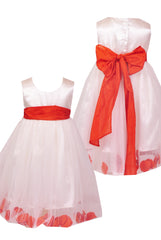 Burnt orange sash petals ivory or white flower girl dress