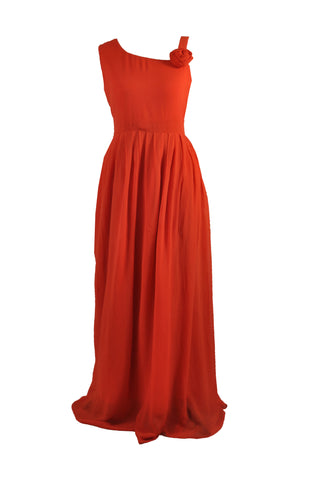 Burnt Orange Single Shoulder Floor Length Bridesmaid Dress