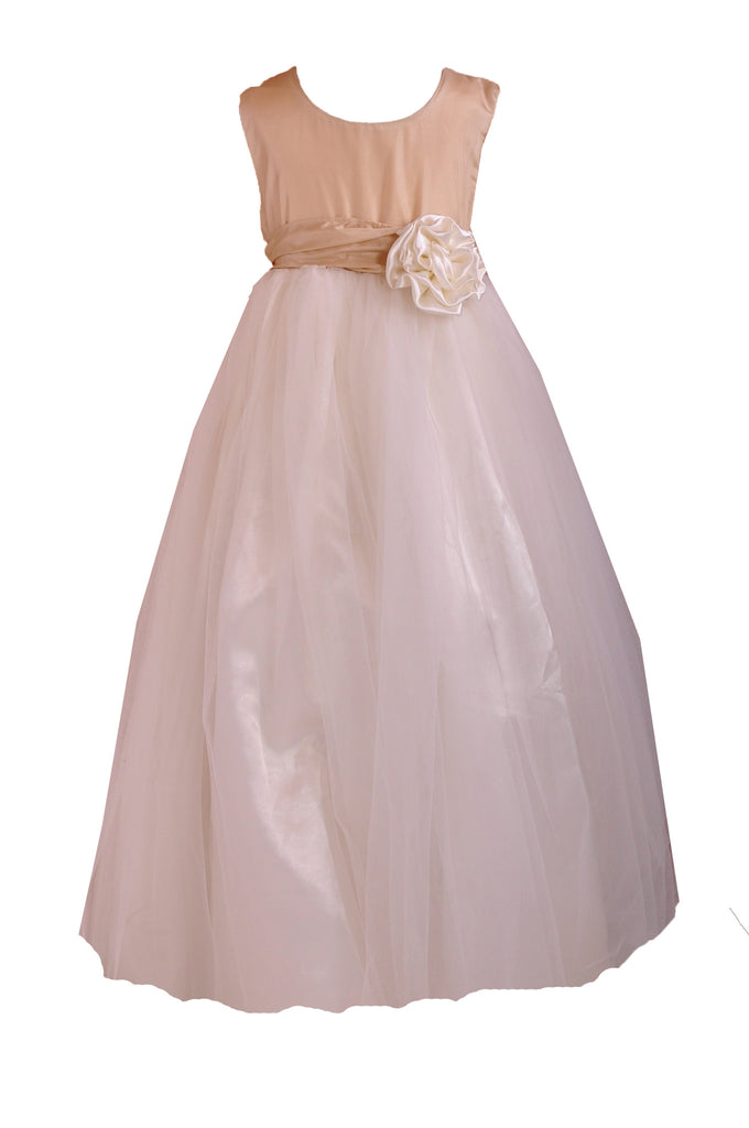 Floor length tulle skirt champagne flower girl junior bridesmaid dress