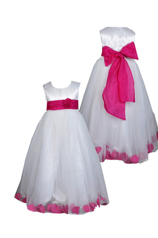 Fuchsia Hot Pink sash petals ivory or white sleeveless flower girl dress