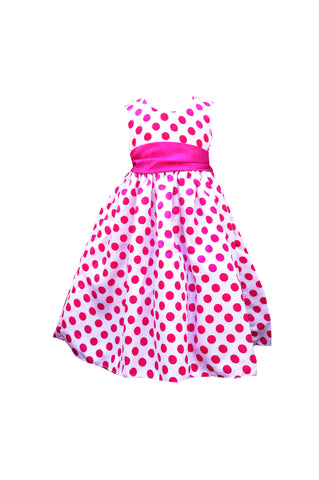 Fuchsia Pink polka white rose sleeveless flower girl dress