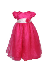 Fuchsia hot pink organza flower girl dress with one flower sash