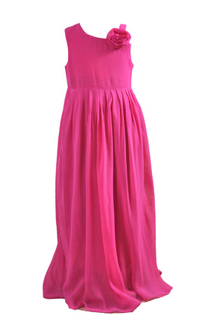Fuchsia  hot pink single shoulder rose flower girl dress