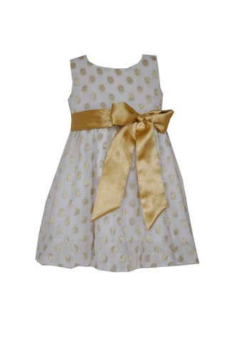 Gold polka dot flower girl dress