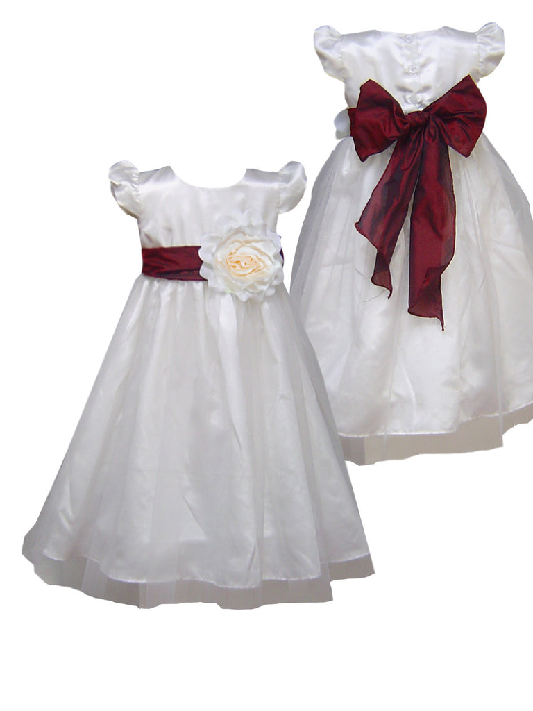 Burgundy sash ivory flower girl dress
