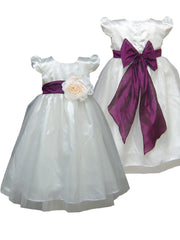 Plum Purple sash ivory or white flower girl dress